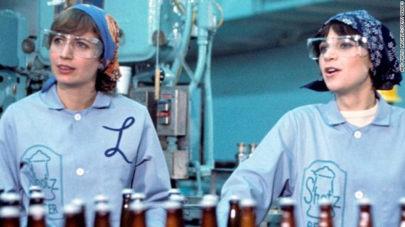 "Penny Marshall, left, on ""Laverne and Shirley"" with co-star Cindy Williams."